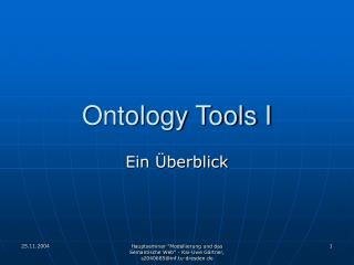 Ontology Tools I