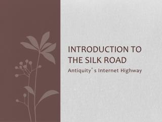 Introduction to the Silk Road