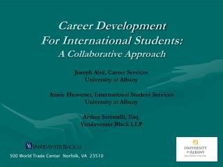 Career Development  For International Students: A Collaborative Approach