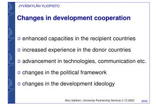 Changes in development cooperation
