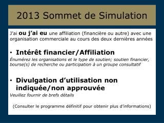 2013  Sommet  de Simulation