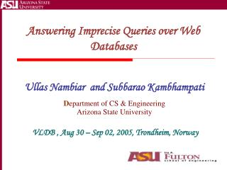 Answering Imprecise Queries over Web Databases