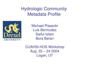 Hydrologic Community Metadata Profile