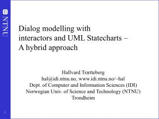 Dialog modelling with interactors and UML Statecharts –  A hybrid approach