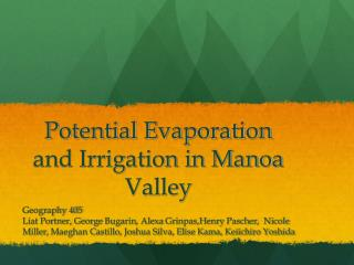 Potential Evaporation and Irrigation in Manoa Valley