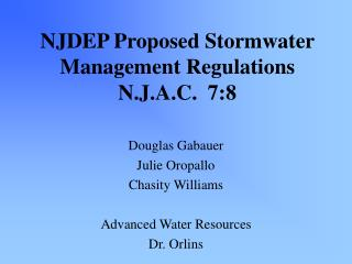 NJDEP Proposed Stormwater Management Regulations N.J.A.C.  7:8