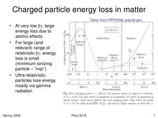Charged particle energy loss in matter