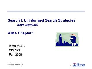 Search I: Uninformed Search Strategies (final revision) AIMA Chapter 3