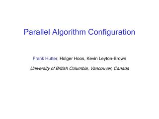 Parallel Algorithm Configuration