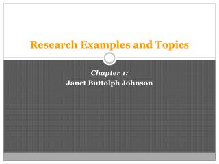 Research Examples and Topics