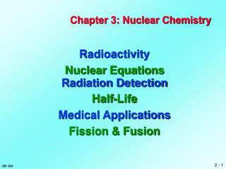Chapter 3: Nuclear Chemistry