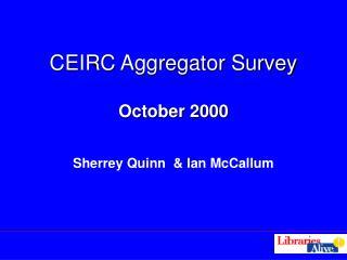 CEIRC Aggregator Survey October 2000