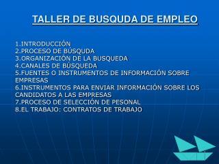 TALLER DE BUSQUDA DE EMPLEO