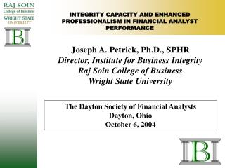 INTEGRITY CAPACITY AND ENHANCED PROFESSIONALISM IN FINANCIAL ANALYST PERFORMANCE