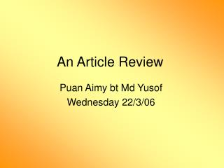 An Article Review