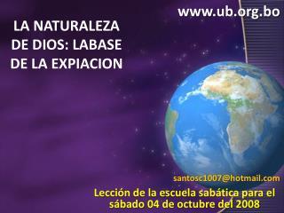 LA NATURALEZA DE DIOS: LABASE DE LA EXPIACION