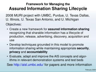 Framework for Managing the Assured Information Sharing Lifecycle
