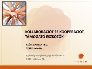 CSÉPE ANDREA PhD. TEREK alelnöke  Egészséges egészségügy konferencia 2011. október 21.