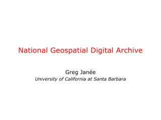 National Geospatial Digital Archive
