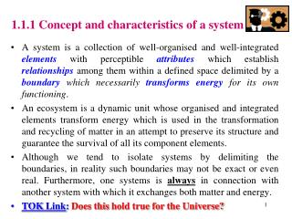 1.1.1 Concept and characteristics of a system