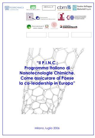 """""""Il P.I.N.C.: Programma Italiano di Nanotecnologie Chimiche. Come assicurare al Paese"""