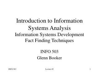 INFO 503 Glenn Booker