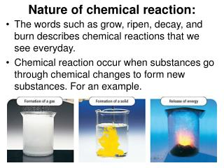 Nature of chemical reaction: