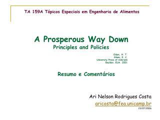 TA 159A Tópicos Especiais em Engenharia de Alimentos