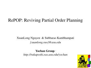 RePOP: Reviving Partial Order Planning