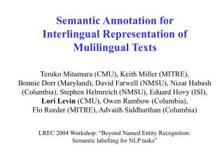Semantic Annotation for Interlingual Representation of Mulilingual Texts