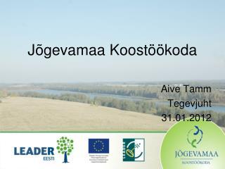 Jõgevamaa Koostöökoda Aive Tamm Tegevjuht 31.01.2012