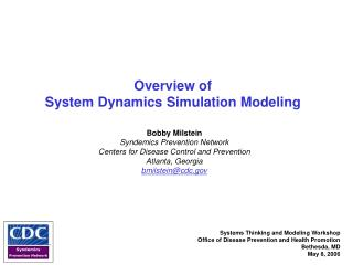 Overview of  System Dynamics Simulation Modeling