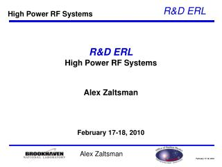 R&D ERL High Power RF Systems