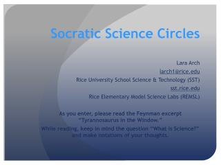 Socratic Science Circles