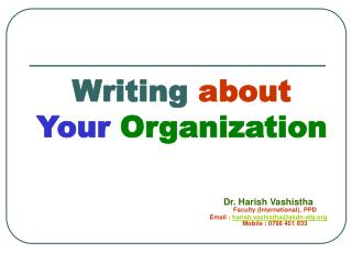 Writing  about  Your Organization