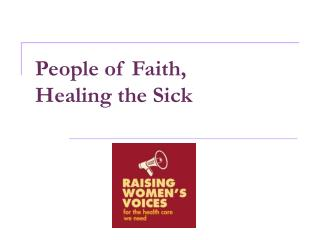 People of Faith,  Healing the Sick