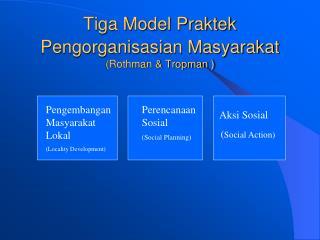 Tiga Model Praktek Pengorganisasian Masyarakat (Rothman & Tropman )