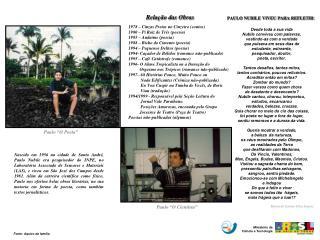 1978 – Cinzas Pretas no Cinzeiro (contos) 1980 – Pi Raiz de Três (poesia) 1985 – Andaime (poesia)