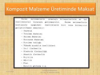 Kompozit Malzeme �retiminde Maksat