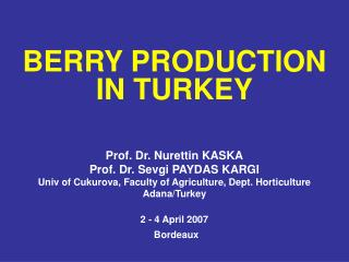 BERRY PRODUCTION IN TURKEY Prof. Dr. Nurettin KASKA Prof. Dr. Sevgi PAYDAS KARGI