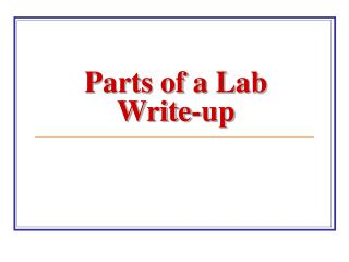 Parts of a Lab Write-up