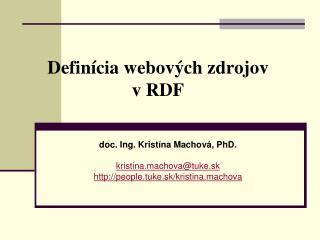 Definícia webových zdrojov v RDF