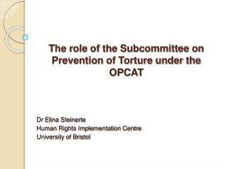 The role of the Subcommittee on Prevention of Torture under the OPCAT