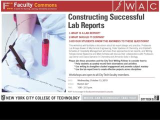 City Tech's WAC Program Presents:  WRITING LAB REPORTS: A WORKSHOP