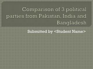 Comparison of 3 political parties from Pakistan, India and Bangladesh