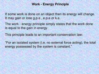 Work - Energy Principle