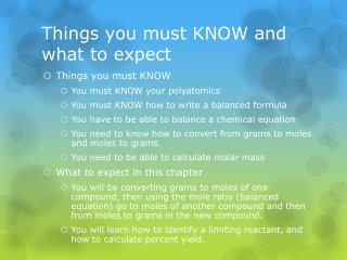 Things you must KNOW and what to expect