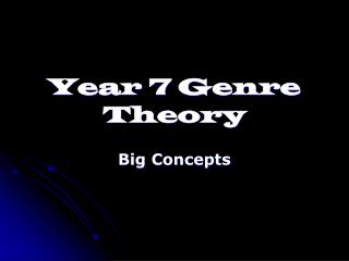 Year 7 Genre Theory