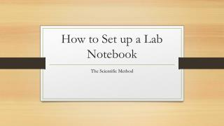 How to Set up a Lab  N otebook