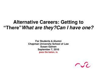 For Students & Alumni Chapman University School of Law Susan Gainen September 7, 2010